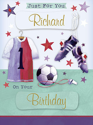 A Birthday Card, personalised and showing a football jersey with the number 1 on it, along with a ball, a referee whistle and hanging football shoes