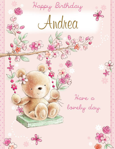 A cute Birthday Card, with a light pink background, showing a cute teddy bear swinging on a swing made of dark pink flowers and hanging from a tree branch