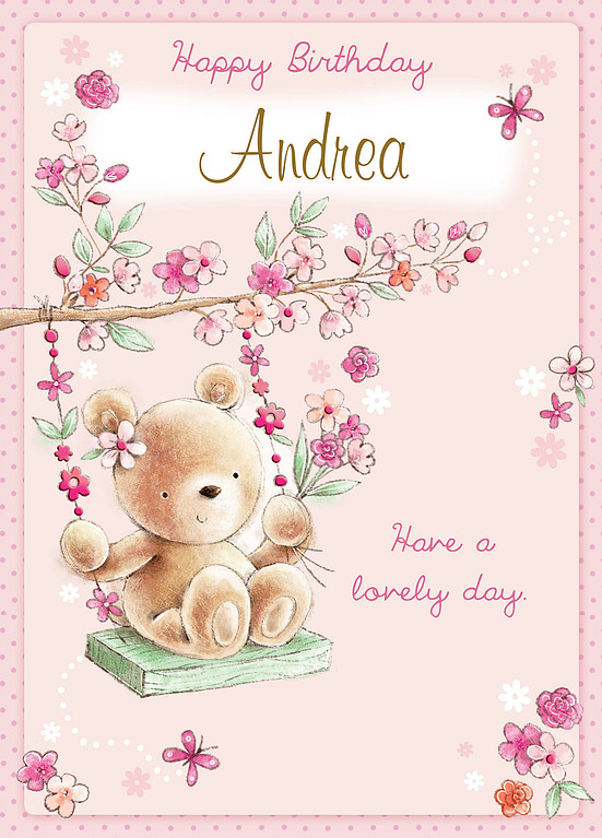 A Cute Birthday Card With Light Pink Background Showing Teddy Bear