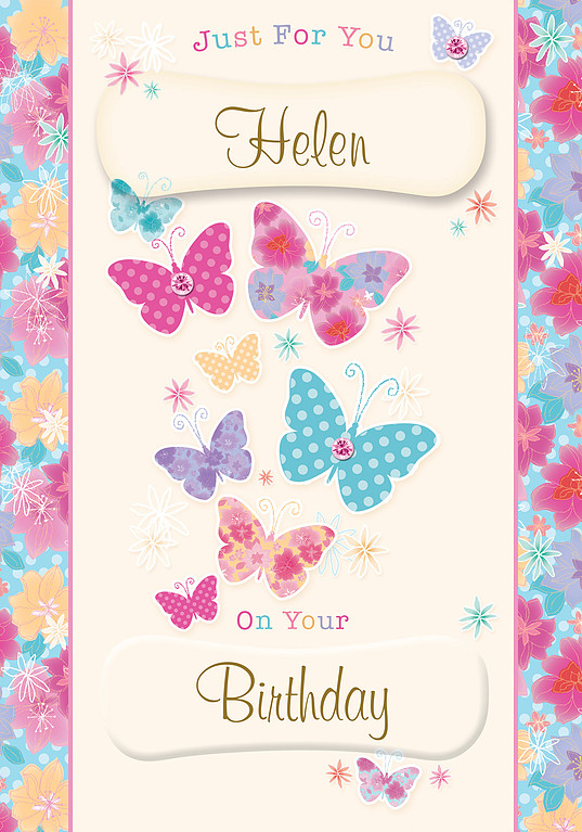 A Nice Birthday Card With Light Pink Background And Vertical Frames Depicting Flowers