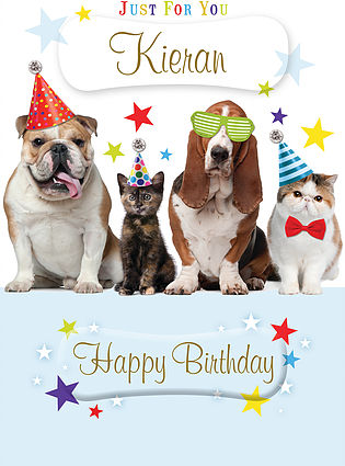 A cute Birthday Card, personalised and showing two cats and two dogs next to each other and wearing party hats, party glasses and bow ties