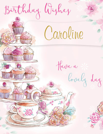 A nice hand drawn Birthday Card, with a light pink background and framed by pink flowers, showing lots of cupcakes and a cup of tea