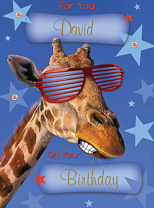 A funny Birthday Card, personalised and showing a giraffe wearing striped red glasses, with a cool smirk