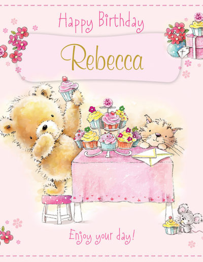 A nice hand drawn Birthday Card, with a light pink background and framed by pink flowers, showing two teddy bears enjoying tea and cupcakes