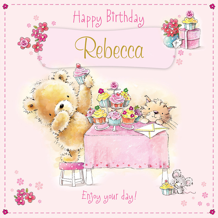 A Nice Hand Drawn Birthday Card With Light Pink Background And Framed By
