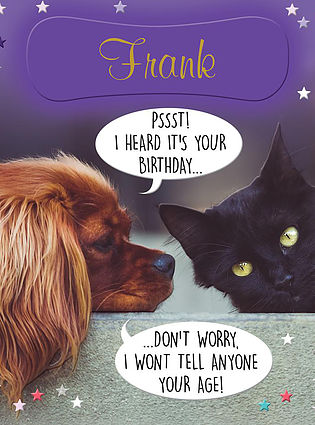 A cute and funny Birthday Card, personalised and showing a puppy whispering a Birthday wish to a black kitten