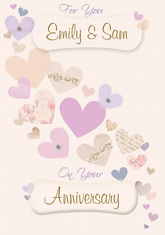 personalised wedding wishes and anniversary cards  name