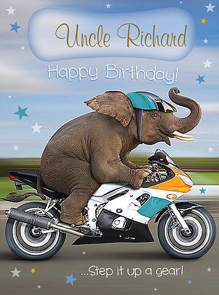 A funny Birthday Card, personalised and showing an elephant riding a motorbike