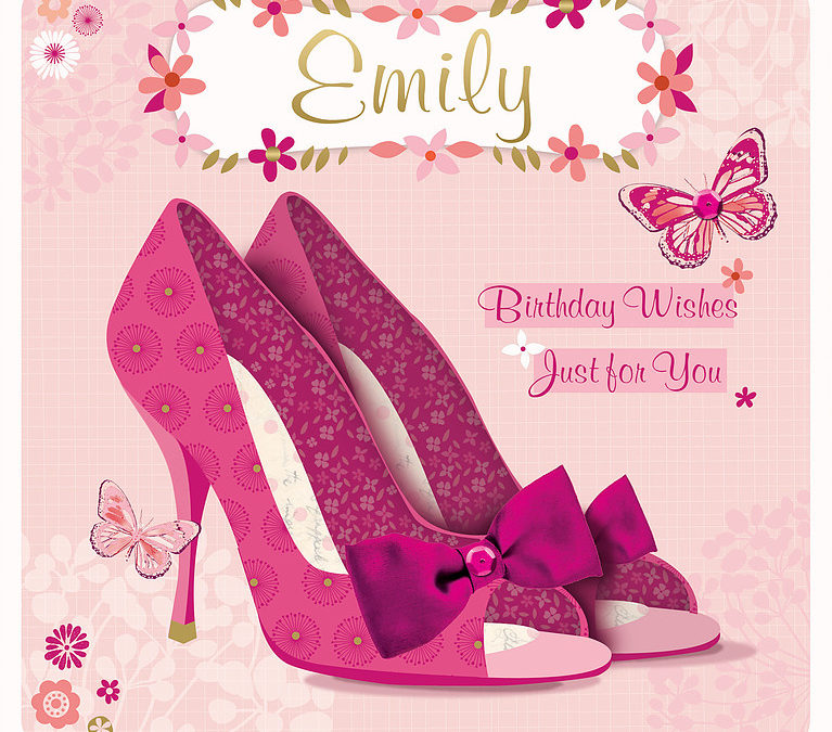 A Birthday Card, with a light pink background, showing a pair of pink high heels shoes
