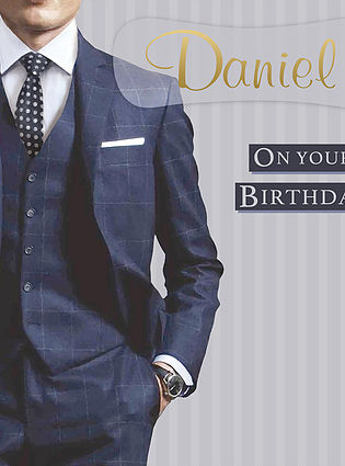 A serious Birthday Card, personalised and showing a man's body from neck down, wearing a blue plain suit, white shirt and black tie with white polka dots