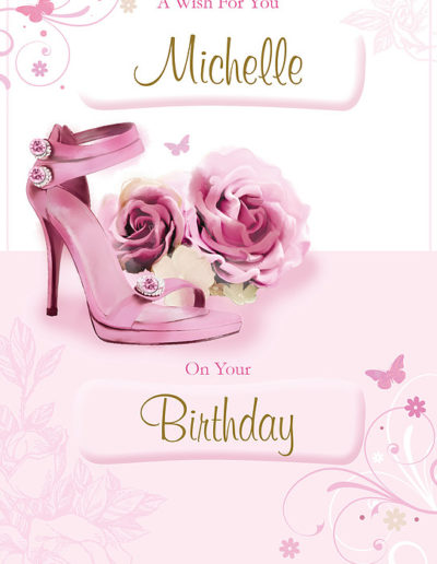 A Birthday Card, with a light pink background, showing a pair of pink high heels shoes with roses on the tip