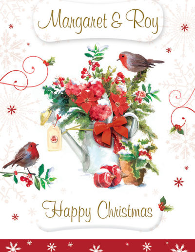 An hand-drawn Personalised Christmas Card, decorated with Christmas Robins and a watering can filled with Poinsettia flowers and Holly
