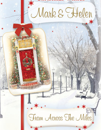 An hand-drawn Personalised Christmas Card, showing a street covered in snow and, on the front, a red door with Christmas Wreath hanging on it