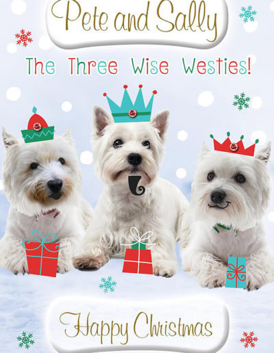 A Personalised Christmas Card, decorated with three cute Yorkshire Terrier dogs posing as the Three Wise Men