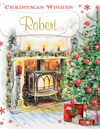 An hand-drawn Personalised Christmas Card, showing a fireplace surrounded by Christmas decorations and a Christmas Tree with gifts beneath