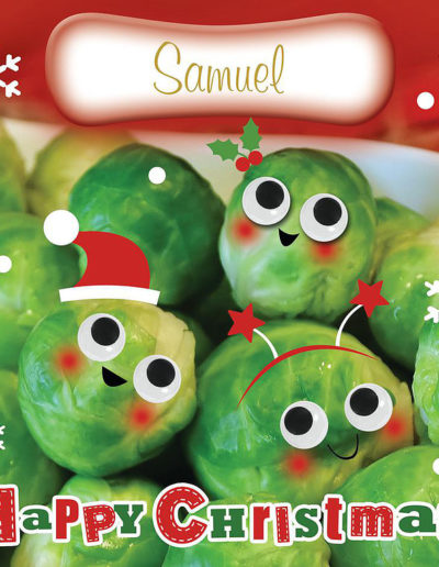 "A Personalised Christmas Card, showing Brussels Sprouts with cute, funny smiling faces and a ""Happy Christmas!"" text"