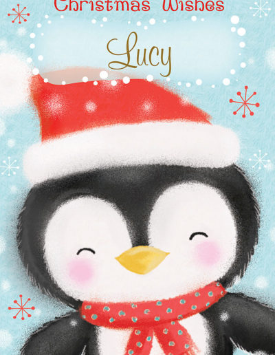 An hand-drawn Personalised Christmas Card, showing a cute, smiling penguin with pink cheeks and wearing a Christmas Hat and a Christmas Scarf