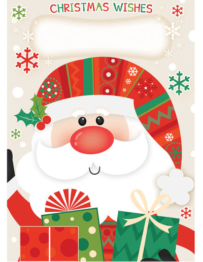 A Personalised Christmas Card, showing a cartoon version of Santa with a big red nose and waving hello while carrying a bunch of Christmas Gifts