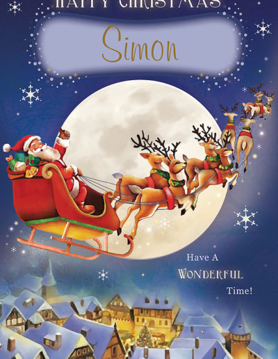 A Personalised Christmas Card showing Santa flying above a snow covered town and over a big Moon in his Sleigh, pulled by reindeer on Christmas Night