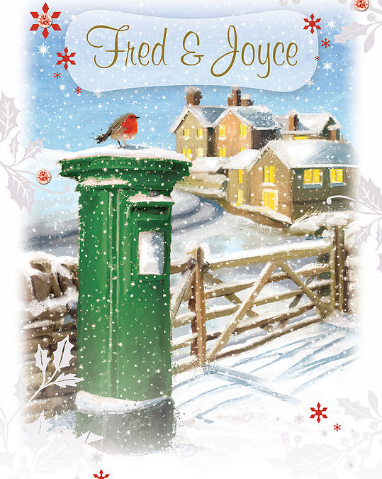 An hand-drawn Personalised Christmas Card showing a Robin sitting on the top of a green pillar box. In the background a wooden fence and some town buildings covered in snow