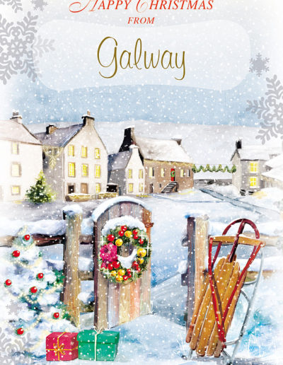An hand-drawn Personalised Christmas Card showing a wooden fence with a Christmas Wreath on the open front door, an abandoned sled stuck in snow, and a peaceful sight of town buildings covered in snow in the background