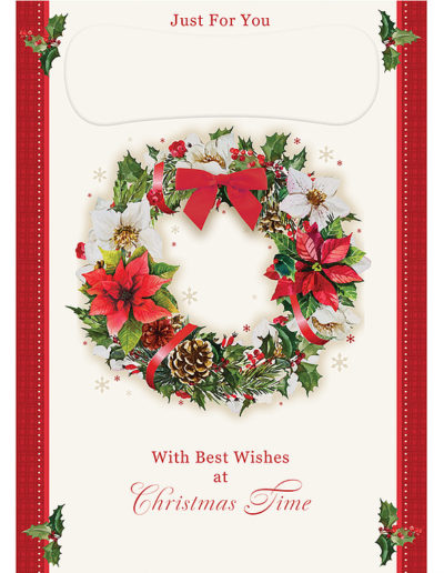 "An elegant Personalised Christmas Card with red vertical borders and small mistletoe branches at the corners, a big Christmas Wreath in the middle of the card with a white background. At the bottom, the text ""With Best Wishes at Christmas Time"""