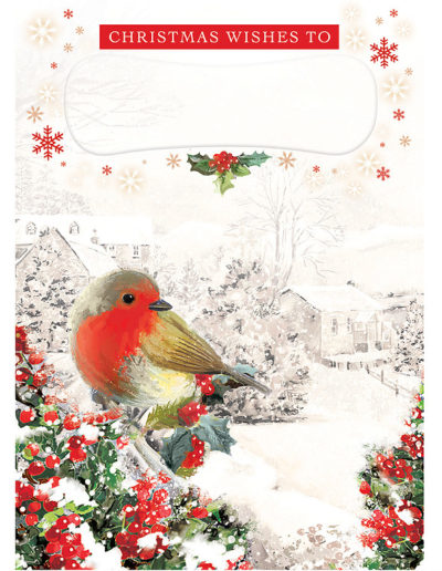 An hand-drawn Personalised Christmas Card showing a Robin sitting on a tree full of red berries in the foregrond and, in the background, town buildings almost completely covered in snow