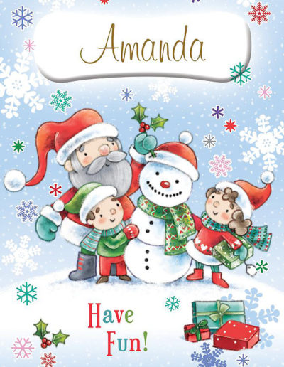 An hand-drawn Personalised Christmas Card showing Santa helping two kids building a snowman