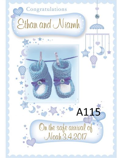 Baby Boy Personalised Congratulations Greeting Card - for Births, Baptisms, Chistenening Events. Card A115 Namecards4u.com