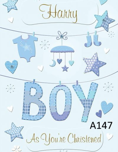 Baby Boy Personalised Congratulations Greeting Card - for Births, Baptisms, Chistenening Events. Card A147 Namecards4u.com