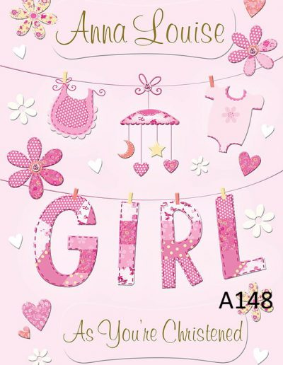 Baby Girl Personalised Congratulations Greeting Card - for Births, Baptisms, Chistenening Events- Card A148