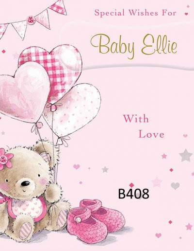 Baby Girl Personalised Congratulations Greeting Card - for Births, Baptisms, Chistenening Events- Card B408